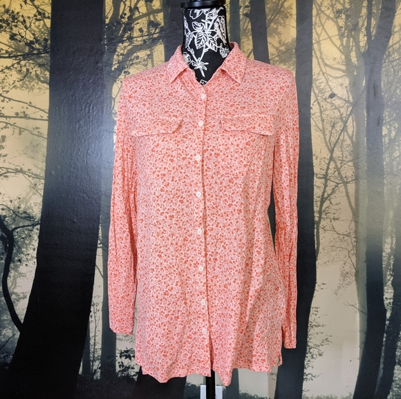 Pink and Coral Lands' End Blouse